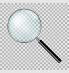 Magnifying glass with steel frame isolated vector