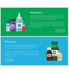 Medication and pharmacy web posters antibiotics vector