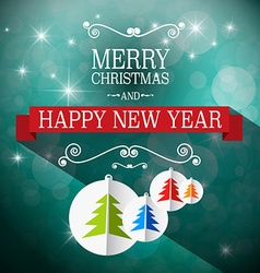 Merry Christmas and Happy New Year Retro Blue vector