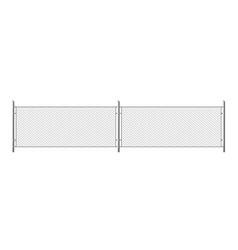 metal chain link fence segment rabitz grid vector image