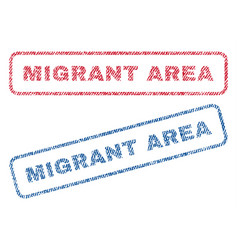 Migrant area textile stamps vector