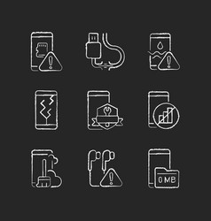 Mobile phone technical issues chalk white icons vector