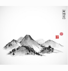 Mountains hand drawn with ink on white background vector