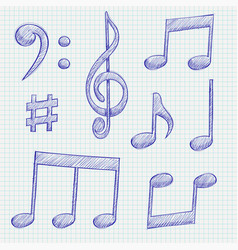 music signs blue notes and symbols on lined paper vector image