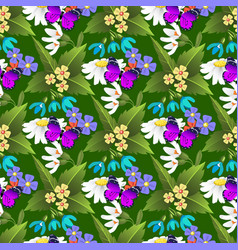 Nature flower and butterflies vector