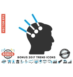Neural Interface Flat Icon With 2017 Bonus Trend vector