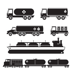 Oil Industry Vehicles Transportation Silhouette vector