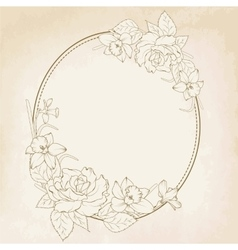 Oval floral frame with rose and narcissus flowers vector image