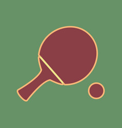 Ping pong paddle with ball cordovan icon vector