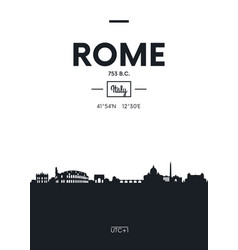 poster city skyline rome flat style vector image