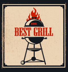 poster template with bbq grill design element vector image