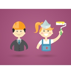 Professions- Engineer and Interior Decorator vector image