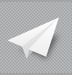 realistic handmade paper plane on transparent vector image