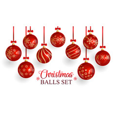 red glass christmas balls with christmas ornament vector image
