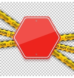 Road Red Stop Sign with Yellow Police Strip vector