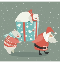 Santa and polar bear carrying a gift vector image