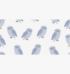 Seamless pattern with cute owl in eyeglasses vector