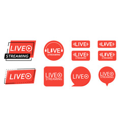 Set live streaming icons red symbols and vector