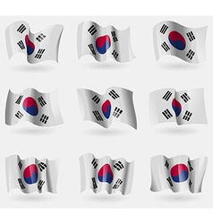Set of Korea South flags in the air vector image