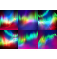 set of northern lights backgrounds vector image