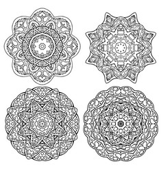 set round mandalas for coloring doodle stained vector image