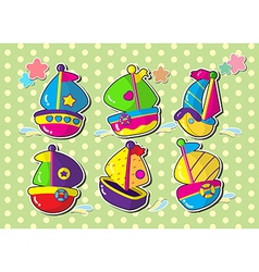 ship sticker cartoon vector image