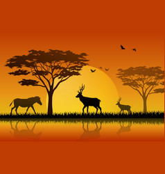 silhouette horse and deer at lake in savanah vector image
