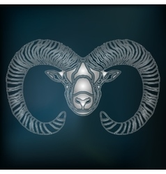 Silver Ram zodiac Aries sign vector