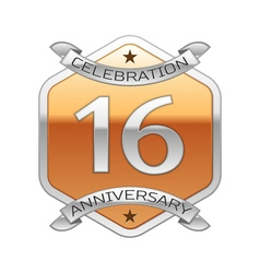 Sixteen years anniversary celebration silver logo vector