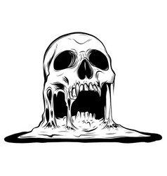 Skull that is melting drawing vector