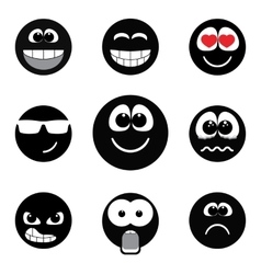 Smiley faces expressing different feelings black vector image