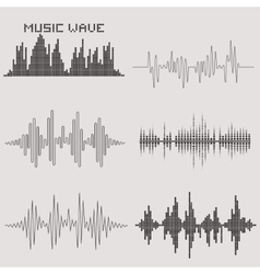 Sound waves set Music icons Audio equalizer vector image