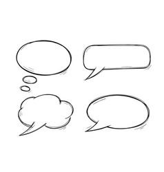 speech bubbles doodles set vector image