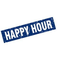 Square grunge blue happy hour stamp vector