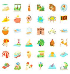 Summer adventure icons set cartoon style vector