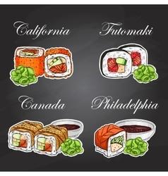 sushi color sticker set vector image