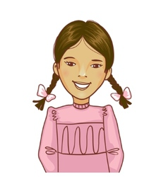 Teenager cartoon girl with two distinct braids vector image