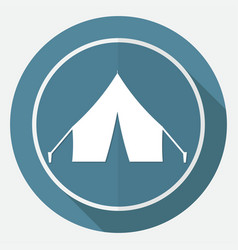 Tent icon on white circle with a long shadow vector