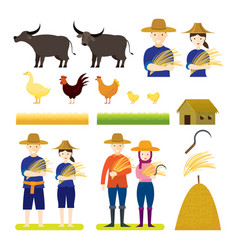 thai farmer with animals set vector image