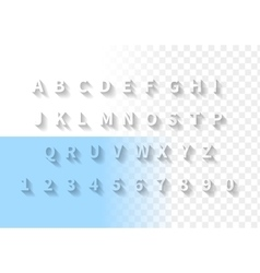 Transparent letters with long shadow font Latin vector