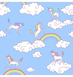 unicorns pattern clouds vector image