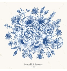 Vintage romantic background with a bouquet vector
