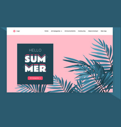 website template design tropical leaves background vector image