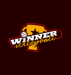 winner volleyball logo modern professional vector image