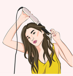 woman curling hair with curling iron or flat iron vector image