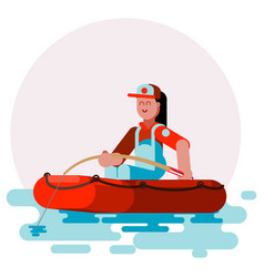 Woman in boat caching a fish vector