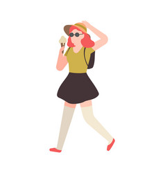 woman with ice cream girl walks in vector image
