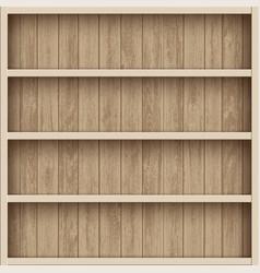 Wooden empty bookshelf shelves for the warehouse vector