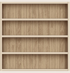 wooden empty bookshelf shelves for warehouse vector image