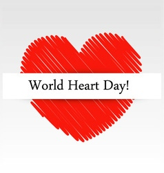 World Heart Day graphic with a scribbled red heart vector image